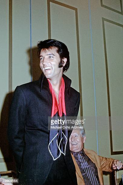 Rock and roll musician Elvis Presley during a press conference after his first performance at the International Hotel on August 1 1969 in Las Vegas...