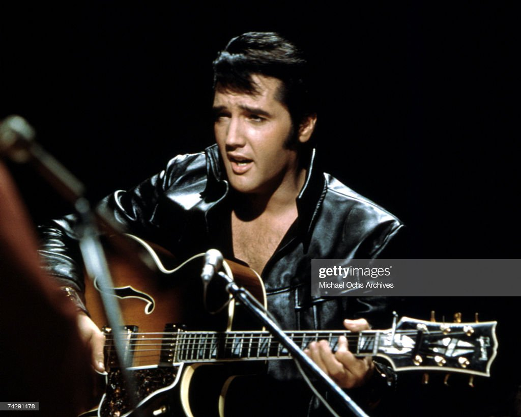 Rock and roll musician <a gi-track='captionPersonalityLinkClicked' href=/galleries/search?phrase=Elvis+Presley&family=editorial&specificpeople=67209 ng-click='$event.stopPropagation()'>Elvis Presley</a> performing on the Elvis comeback TV special on June 27, 1968.