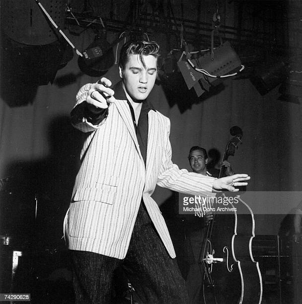 Rock and roll musician Elvis Presley rehearsing for his performance the Milton Berle Show on June 4 1956 in Burbank California