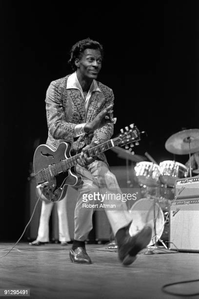 Rock and Roll pioneer Chuck Berry duck walks onstage at the Berkeley Community Theatre in May 1969 in Berkeley California