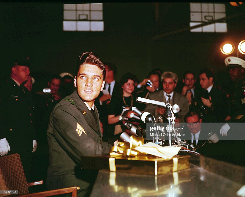 Rock and roll singer Elvis Presley during a press conference on his tour of duty in Germany in February of 1959.