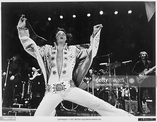 Rock and roll singer Elvis Presley performs on stage in 1972