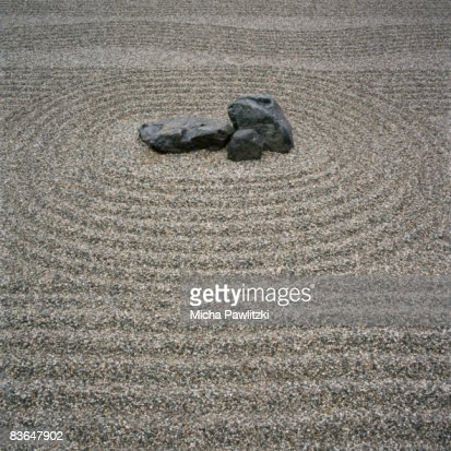Rock And Sand Pattern In Zen Garden Stock Photo   Getty Images
