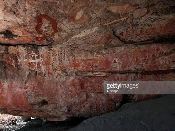 Rock art in Mount Borradaile shelter Mount Borradaile Awunbarna Arnhem Land Northern Territory Australia