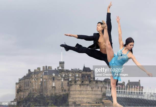 Rock Ballet performers Alexei Geronimo and Jordan Hombardi perform leaps and dance moves on a roof terrace in front of Edinburgh Castle ahead of...