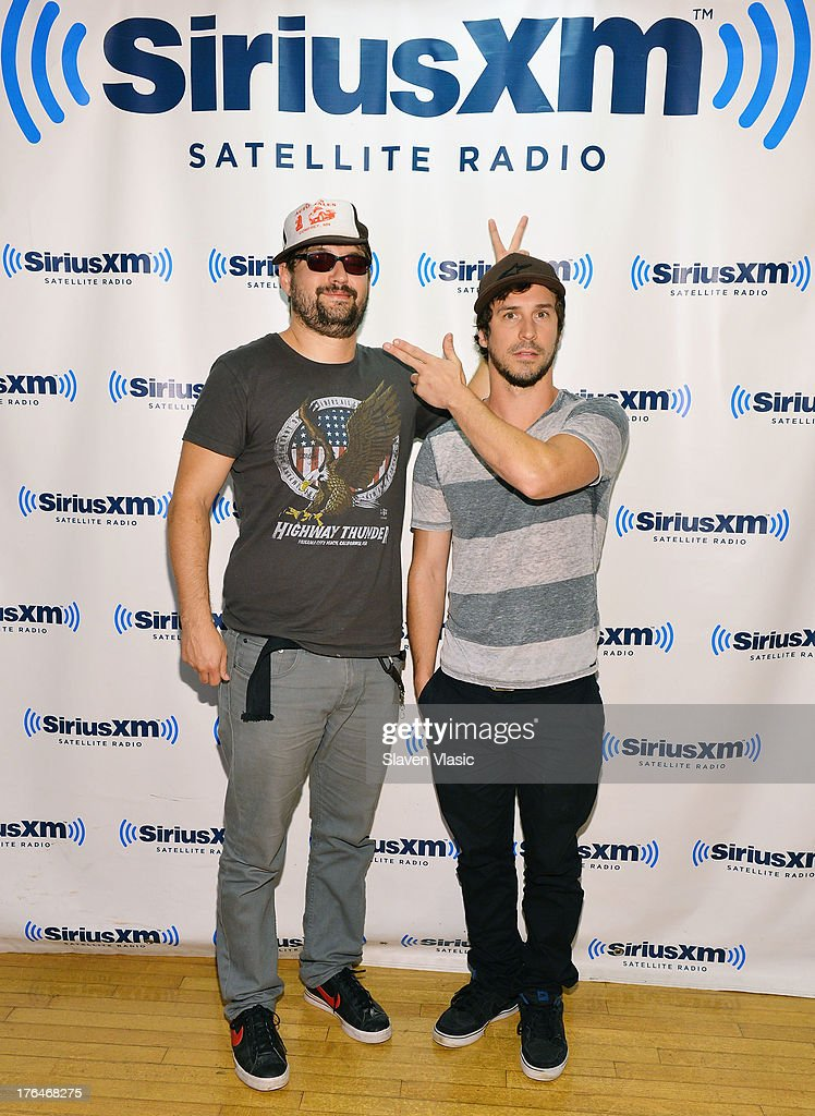 Rock band '10 Years' members Ryan 'Tater' Johnson (L) and Jesse Hasek visit SiriusXM Studios on August 13, 2013 in New York City.