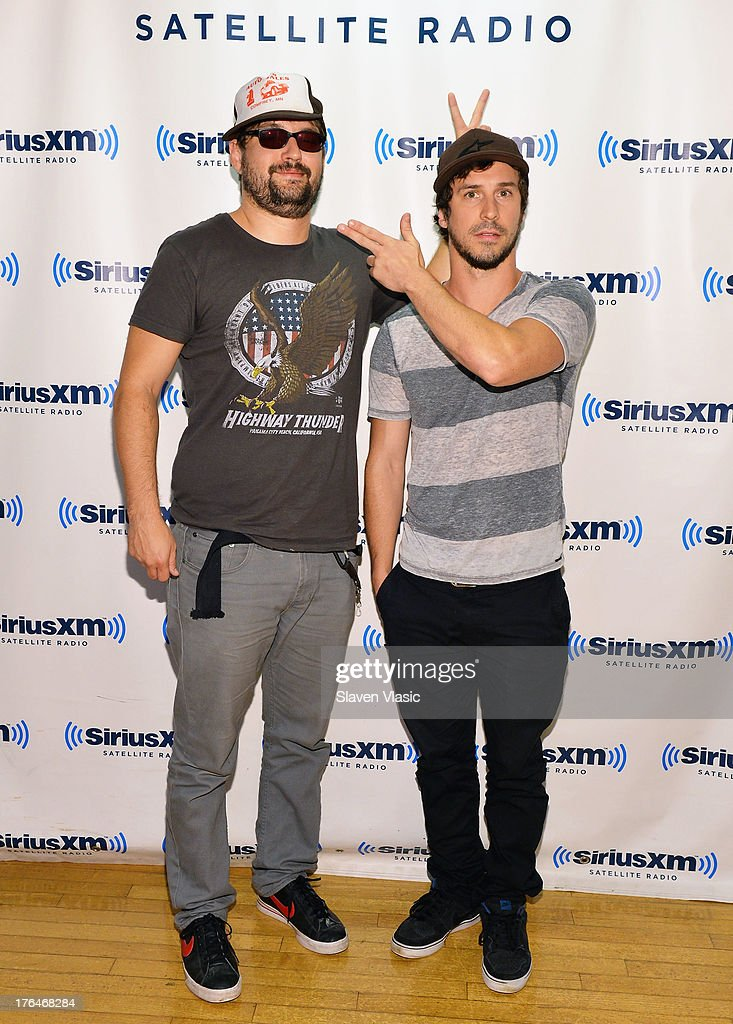 Rock band '10 Years' members Ryan 'Tater' Johnson and Jesse Hasek visit SiriusXM Studios on August 13, 2013 in New York City.