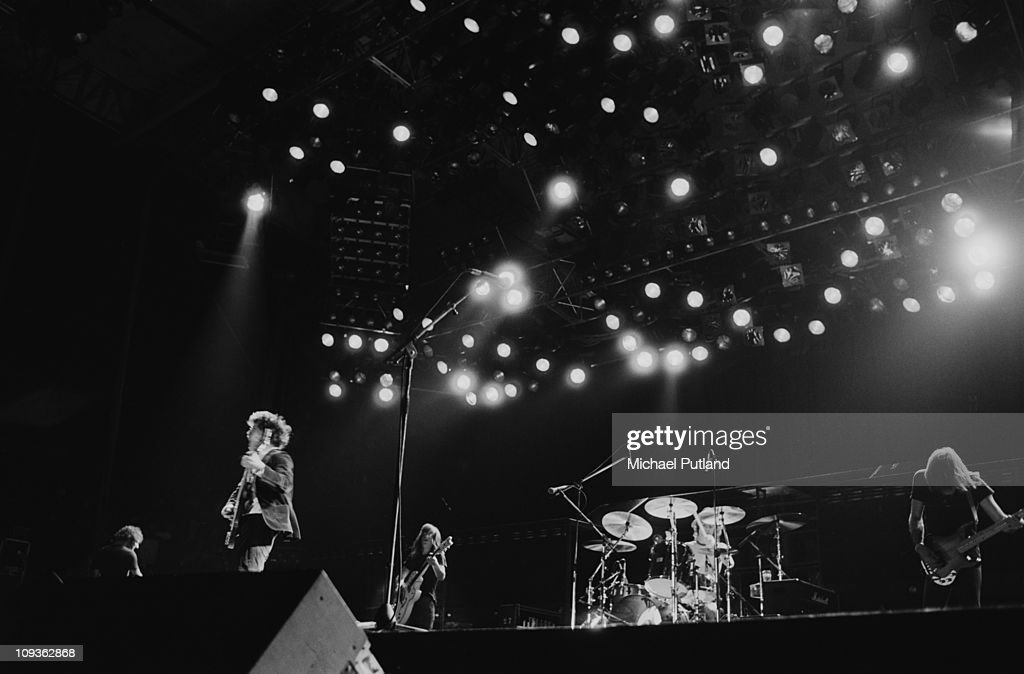 Rock band AC/DC play the Monsters of Rock music festival at Castle Donington Leicestershire 1981