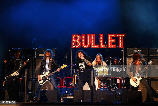 Rock band Bullet perform on stage prior to the start of the 2009 Compuware NHL Premiere Stockholm match between St Louis Blues and Detroit Red Wings...