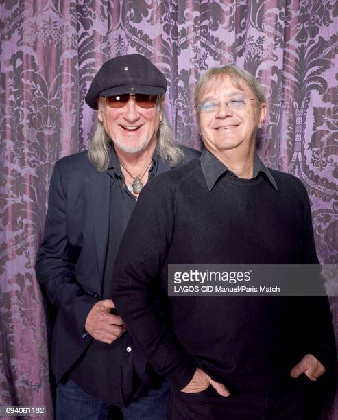 Rock band Deep Purple's bass player Roger Glover and drummer Ian Paice are photographed for Paris Match on February 23 2017 in Paris France