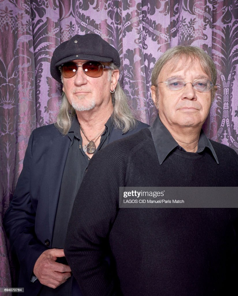 Rock band Deep Purple's bass player Roger Glover and drummer Ian Paice are photographed for Paris Match on February 23, 2017 in Paris, France.