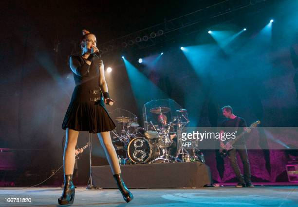 US rock band Garbage perform at the Arena Monterrey State of Nuevo Leon Mexico on April 16 2013 Garbage will visit more than 30 countries around the...