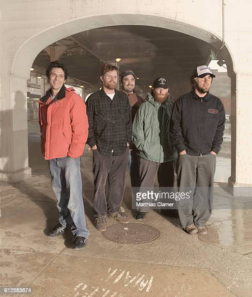 Rock band Grandaddy standing under elevated railroad Singer Jason Lytle bassist Kevin Garcia drummer Aaron Burtch guitarist Jim Fairchild and...