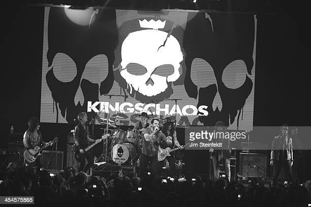 Rock band Kings of Chaos Steve Stevens Duff McKagan Matt Sorum Franky Perez Slash Billy Ray Cyrus and Glenn Hughes perform a benefit concert for Ric...