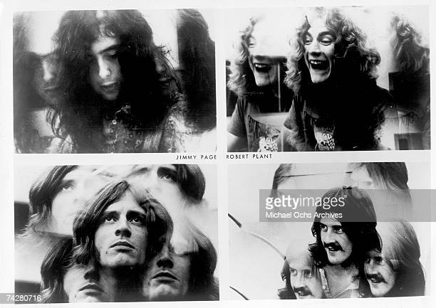 Rock band 'Led Zeppelin' poses for a series of multiple exposure solo portraits in 1969 Jimmy Page Robert Plant John Bonham John Paul Jones