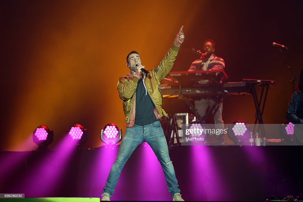 US Rock band <a gi-track='captionPersonalityLinkClicked' href=/galleries/search?phrase=Maroon+5&family=editorial&specificpeople=216356 ng-click='$event.stopPropagation()'>Maroon 5</a> lead singer <a gi-track='captionPersonalityLinkClicked' href=/galleries/search?phrase=Adam+Levine+-+Singer&family=editorial&specificpeople=202962 ng-click='$event.stopPropagation()'>Adam Levine</a> performs at Rock in Rio Lisboa 2016 music festival in Lisbon, Portugal on May 28, 2016.
