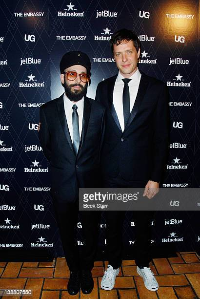 Rock band OK Go Tim Nordwind and Damian Kulash arrive at UG with The Embassy present 2012 GRAMMYS celebration at Hollywood Roosevelt Hotel on...