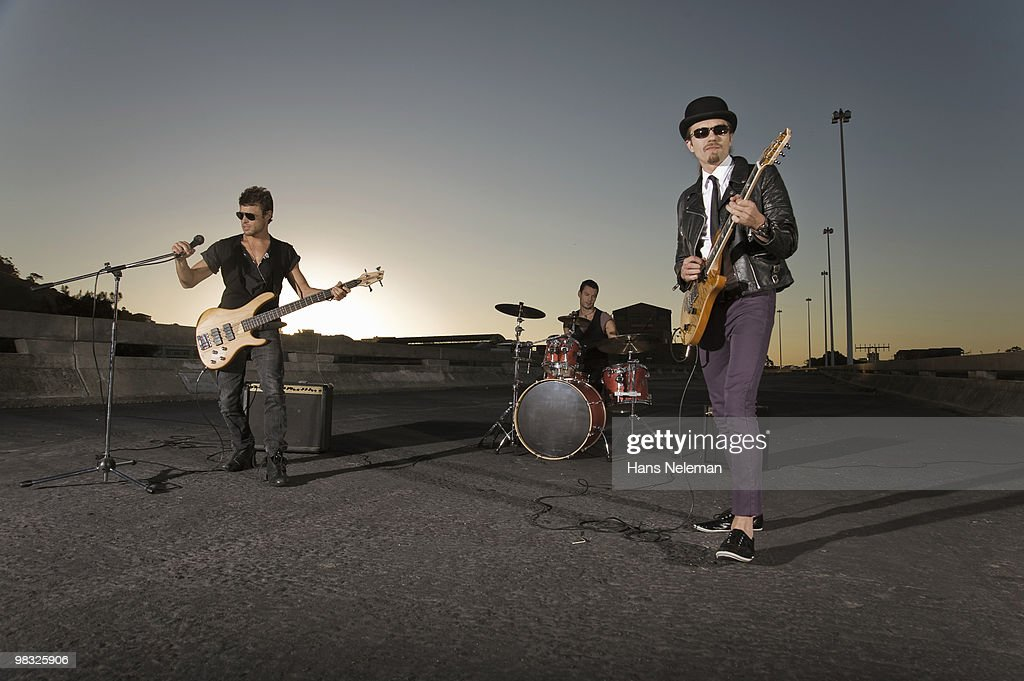 Rock band performing on a highway, South Africa