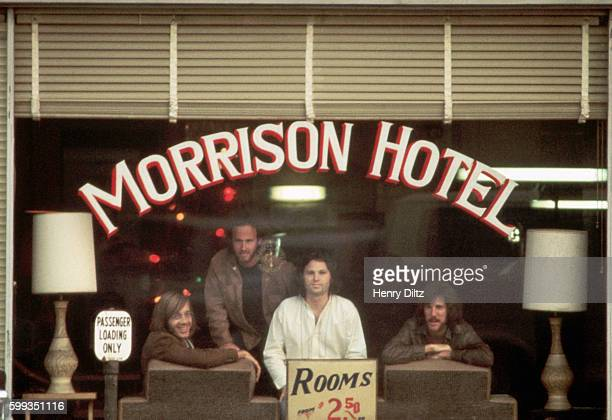 Rock band the Doors inside the Morrison Hotel during the photo shoot for the album cover of the same name The Doors are keyboardist Ray Manzarek...