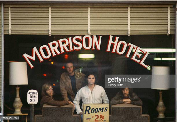 Rock band the Doors inside the Morrison Hotel for the Morrison Hotel album cover photo shoot The Doors are keyboardist Ray Manzarek guitarist Robbie...