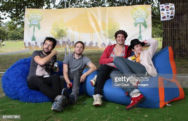 UK rock band The Holloways relax after performing at the Subway Picnic Rocks festival on Clapham Common south London