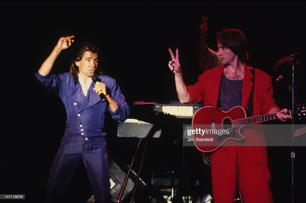 Rock band the Monkees Davy Jones and Peter Tork perform at the Carlton Dinner Theatre in Bloomington Minnesota in August 1986