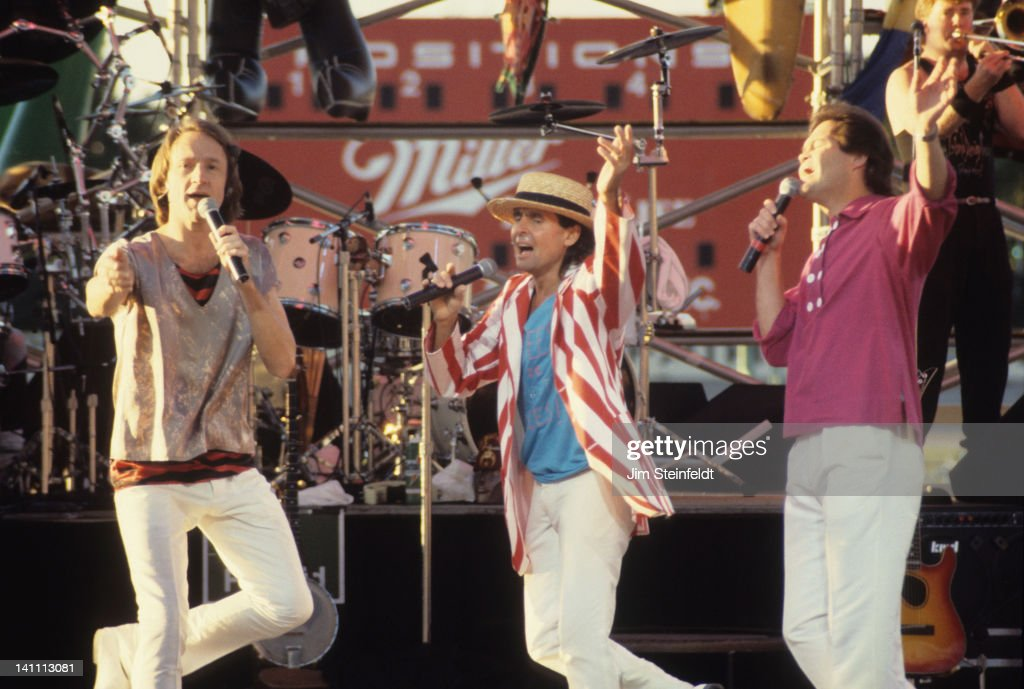 Rock band the Monkees Peter Tork Davy Jones and Micky Dolenz perform at the Minnesota State Fair in St Paul Minnesota in September 1987