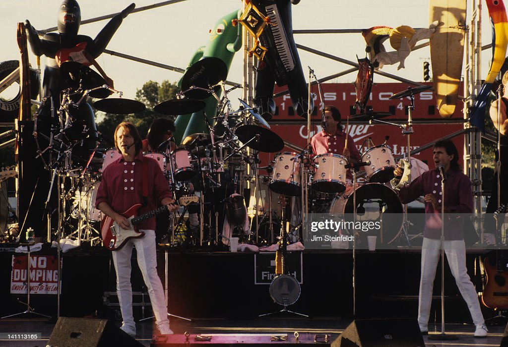 Rock band the Monkees Peter Tork Micky Dolenz and Davy Jones perform at the Minnesota State Fair in St Paul Minnesota in September 1987