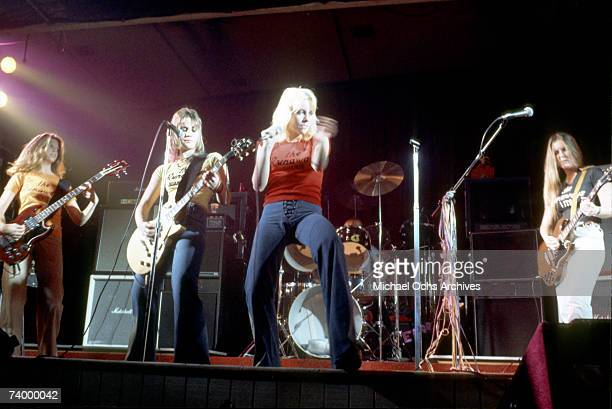 Rock band 'The Runaways' perform on stage in Los Angeles in 1977 Jackie Fox Joan Jett Cherie Currie Sandy West Lita Ford