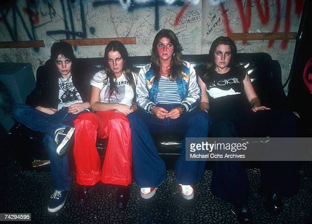 Rock band 'The Runaways' pose for a portrait in 1977 Joan Jett Lita Ford Sandy West and Vicki Blue