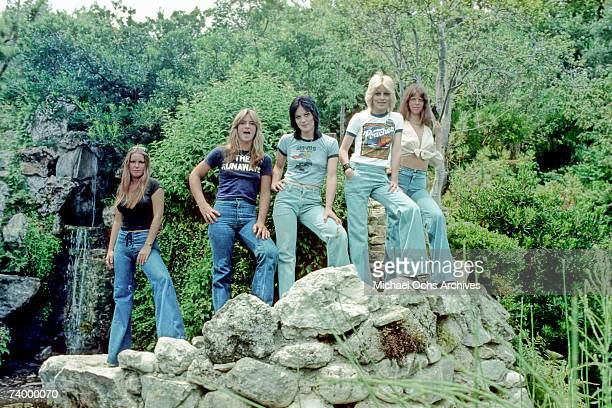 Rock band 'The Runaways' pose for a portrait in 1977 Lita Ford Sandy West Joan Jett Cherie Currie Jackie Fox