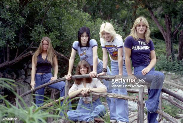 Rock band 'The Runaways' pose for a portrait in Los Angeles CA in 1976 Lita Ford Joan Jett Cherie Currie Sandy West Jackie Fox