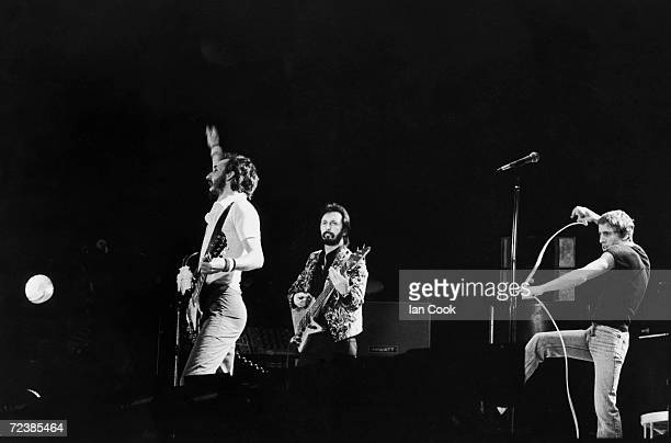 Rock band The Who Pete Townshend John Entwistle Roger Daltrey in concert at Wembley Stadium
