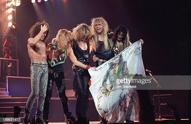 Rock band Whitesnake makes a curtaincall during their 'Slip of the Tongue' tour at the Met Center in Bloomington Minnesota on April 27 1990