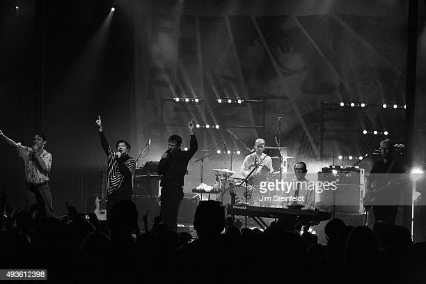 Rock bands Franz Ferdinand and Sparks combine to form the band FFS Nick McCarthy Russell Mael Alex Kapranos Paul Thomson Ron Mael Bob Hardy perform...