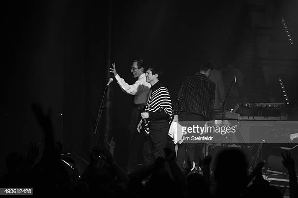 Rock bands Franz Ferdinand and Sparks combine to form the band FFS Ron Mael Russell Mael Alex Kapranos exit the stage at the end of their performance...