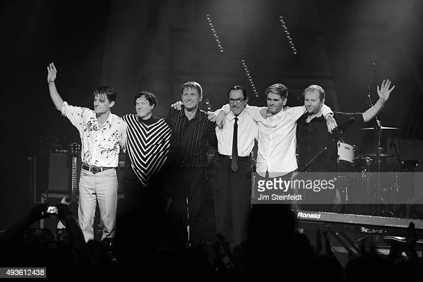 Rock bands Franz Ferdinand and Sparks combine to form the band FFS Nick McCarthy Russell Mael Alex Kapranos Ron Mael Paul Thomson Bob Hardy perform...
