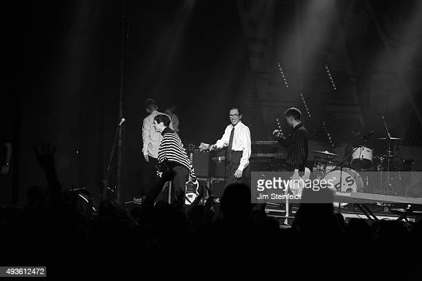 Rock bands Franz Ferdinand and Sparks combine to form the band FFS Russell Mael Ron Mael Alex Kapranos exit the stage at the end of their performance...
