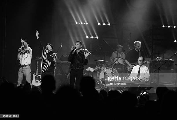 Rock bands Franz Ferdinand and Sparks combine to form the band FFS Nick McCarthy Russell Mael Alex Kapranos Paul Thomson Bob Hardy Ron Mael perform...