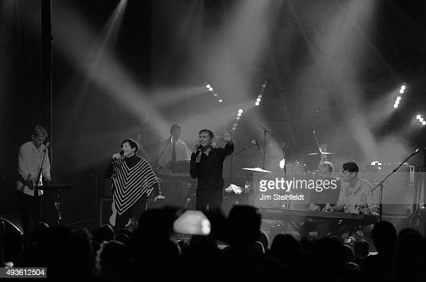 Rock bands Franz Ferdinand and Sparks combine to form the band FFS Bob Hardy Russell Mael Ron Mael Alex Kapranos Paul Thomson Nick McCarthy perform...