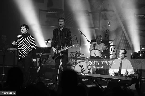 Rock bands Franz Ferdinand and Sparks combine to form the band FFS Russell Mael Alex Kapranos Paul Thomson Ron Mael perform at The Observatory in...