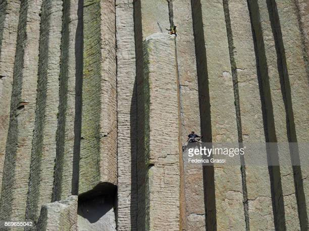 Rock Climber at Devils Tower National Monument, Wyoming