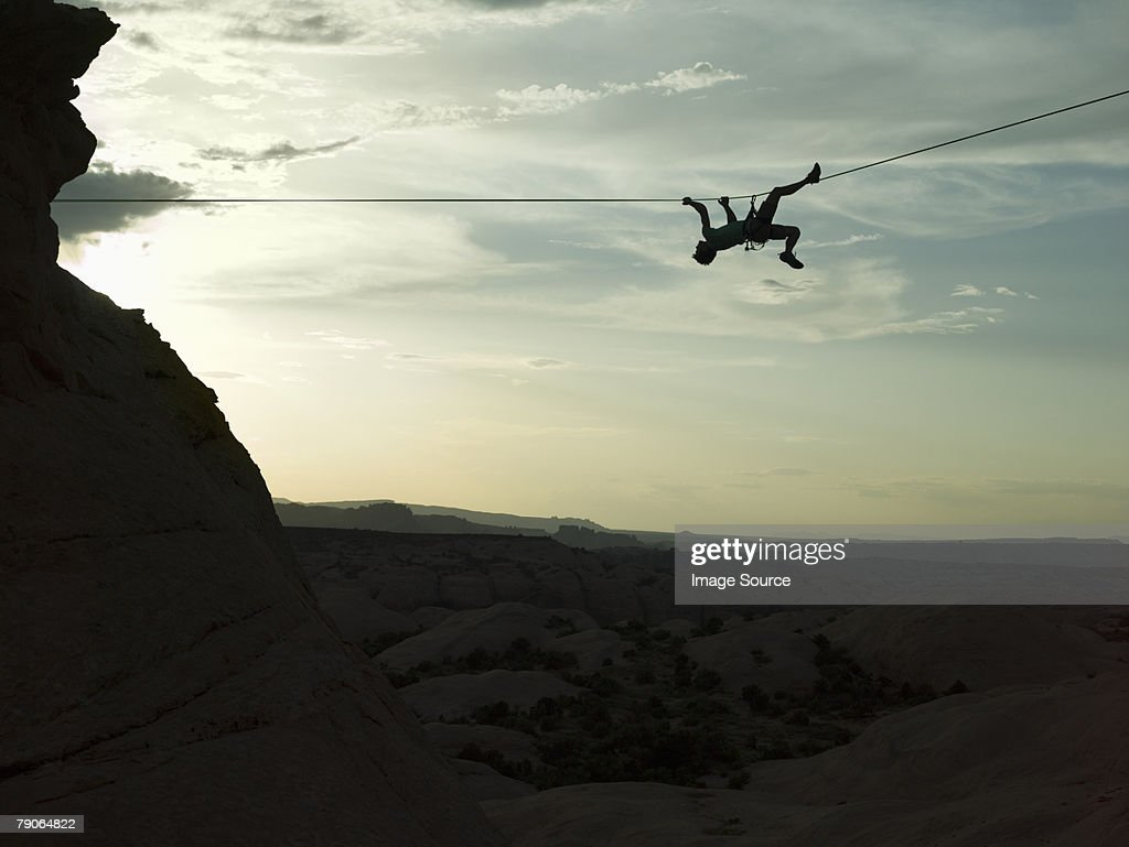 Rock climber on a rope : Stock Photo