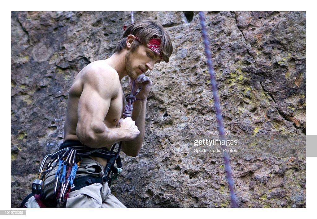 Rock climber photographed circa 2009 in Southern, California.