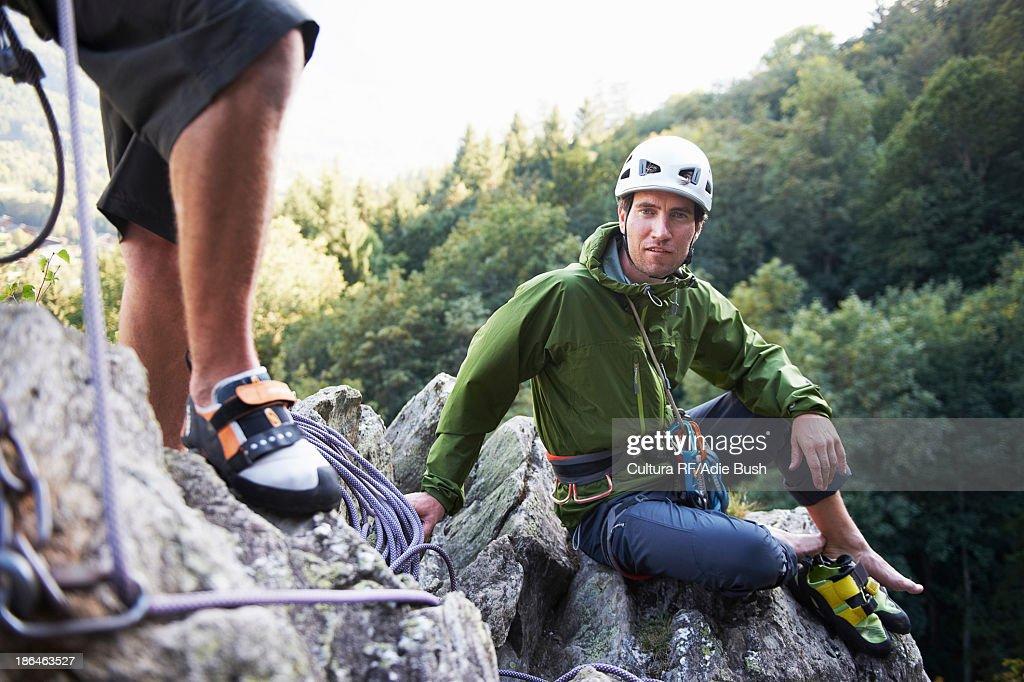 Rock climber sitting on rocks, Chamonix, Haute Savoie, France : Stock Photo