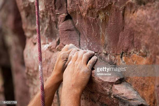 Rock climbing - focus on hands