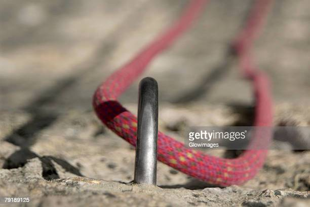 Rock climbing rope in a hook