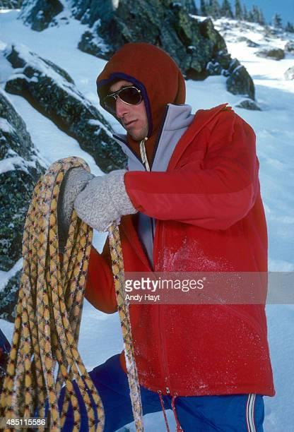 Sporting Look Portrait of Ken Gallard wearing HellyHansen's pile jacket during photo shoot at Taos Ski Valley Taos County NM CREDIT Andy Hayt