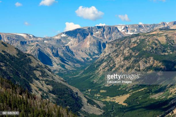 Rock Creek Canyon rises into the Bear tooth Mountains in the Custer National Forest of Montana viewed from a vista point on the Bear tooth Highway...