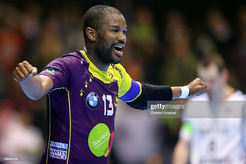 Rock Feliho of Nantes celebrates a goal during the EHF Cup Semi Final match between Tvis Holstebro and HBC Nantes at Palais des Sports de Beaulieu on May 18, 2013 in Nantes, France.